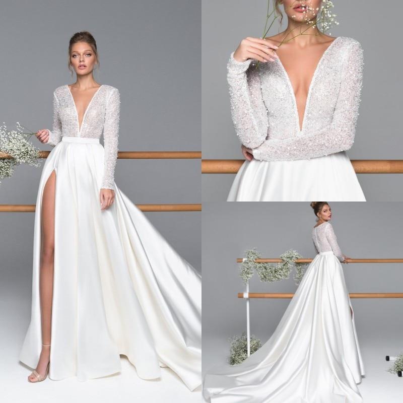 2020 Side Split Wedding Dresses V Neck Long Sleeve Beads Lace Wedding Gowns Sweep Train Plus Size Bridal Dress