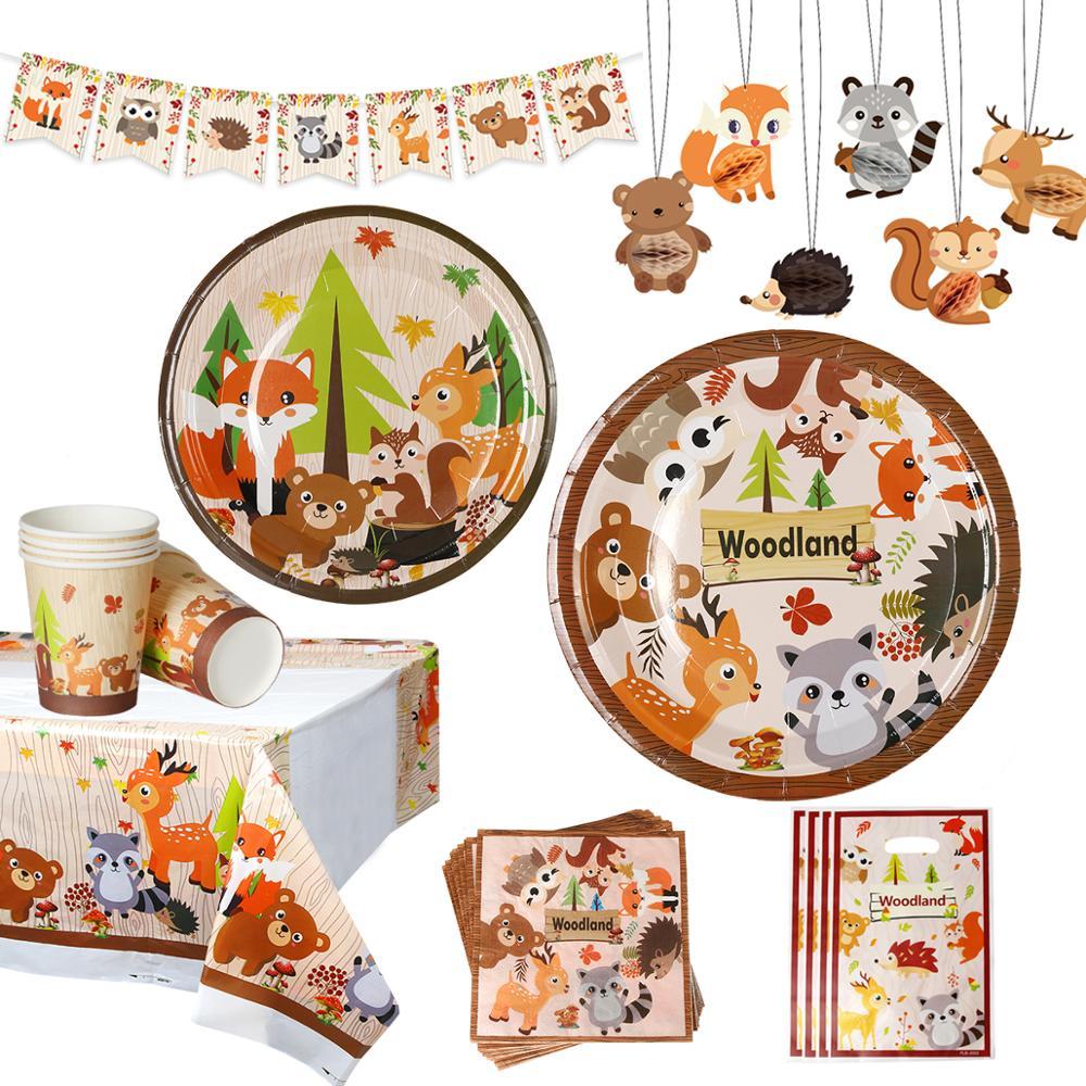 Huiran Woodland Animals Party Jungle Safari Birthday Party Decor Woodland Creatures Jungle Animal Forest Bithday Party Supplies