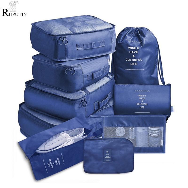 Набор из 9 предметов, дорожный органайзер, сумки для хранения, чемодан, упаковочный набор, футляры для хранения, переносной органайзер для об...