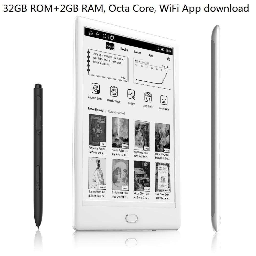 WiFi 32GB czytnik e-booków 7.8 cal Dual Touch 300PPI ekran HD E atrament czytnik audio octa-core android E czytnik z piórem + słuchawki