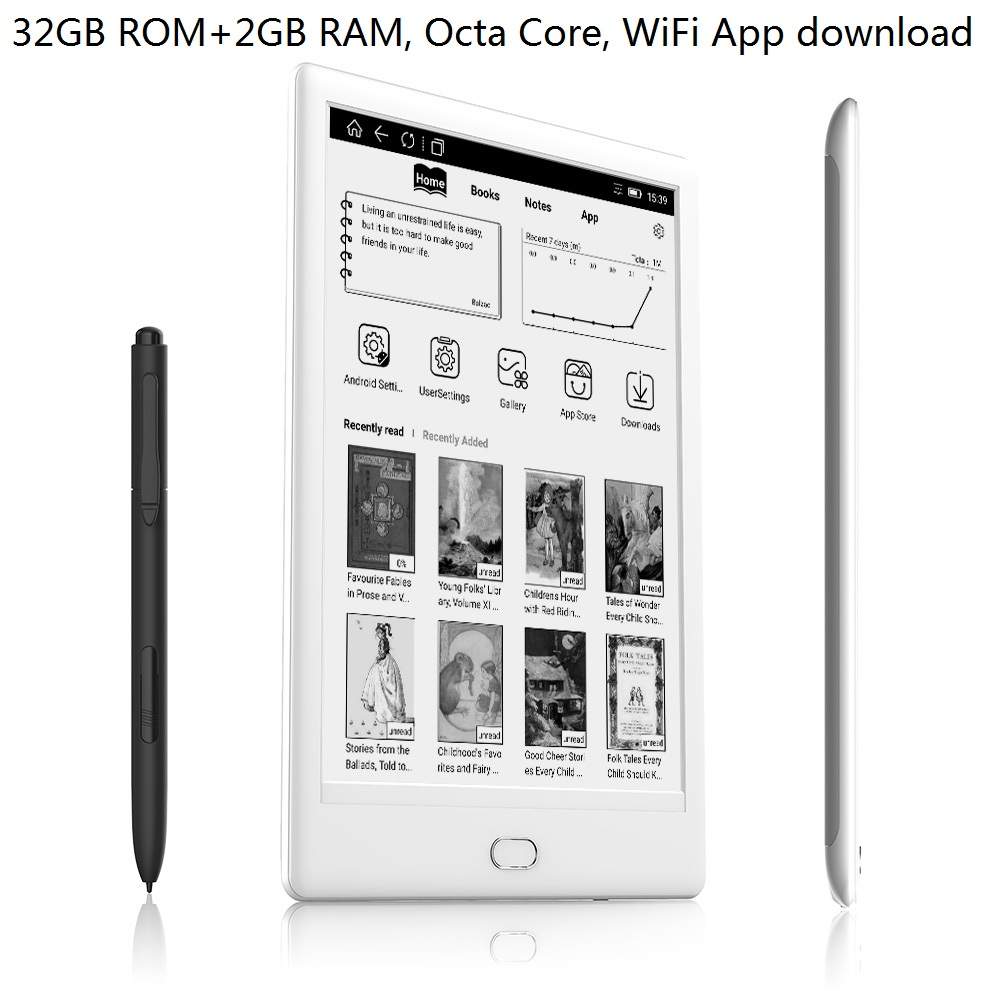 WiFi 32GB e-Book Reader 7.8 inch Dual Touch 300PPI HD Screen E ink audio Reader Octa-core android E Reader With Pen+earphone image