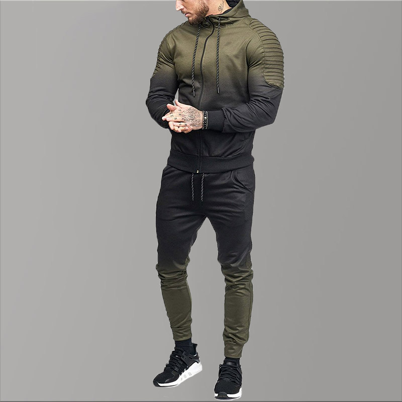 Full Brand Men Tracksuits Hoodies Gradient Fold Sport Suit Men Sets 2020 Causal Sports Suits For Men Clothing