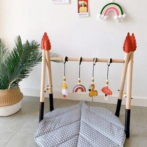 Деревянная Скандинавская стойка для фитнеса со стрелами, для новорожденных, с тканью, детская сенсорная игрушка-кольцо, украшения для детск...
