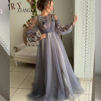 Charming 2020 Grey Evening Dresses Tulle A-Line O-Neck Full Sleeves Lace Appliques Long Evening Dress Formal Party Gowns Vestido vensanac 2018 o neck metal leaf sash long a line evening dresses vintage tank lace crystals party tulle prom gowns