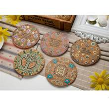 8pcs Natural Cork Moisture Resistant Round Cup Coasters Drink Coasters Heat Insulation Patterned Pot Holder Mats For Table Decor(China)