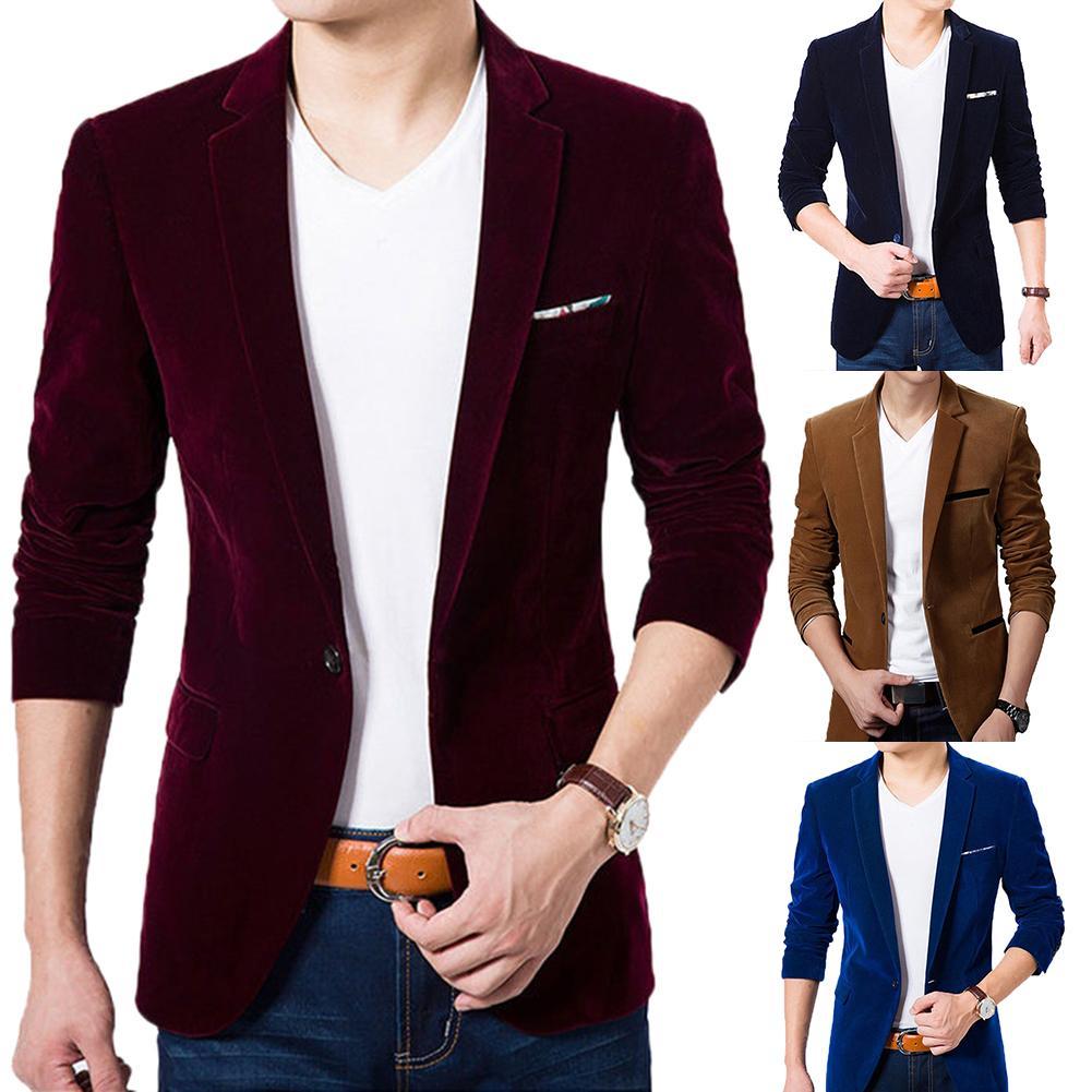 Men Autumn Long Sleeve Lapel Collar Button Pocket Decor Velvet Slim Blazer Jacket Men Autumn Long Sleeve Fashion Brand Blazer