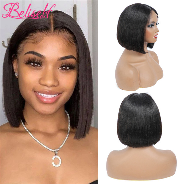 Short Bob 4×4 Lace Closure Wig 1B 99J Straight Burgundy Lace Front Wig Human Hair Brazilian Remy Hair Ombre Wine Red 180 Density 5