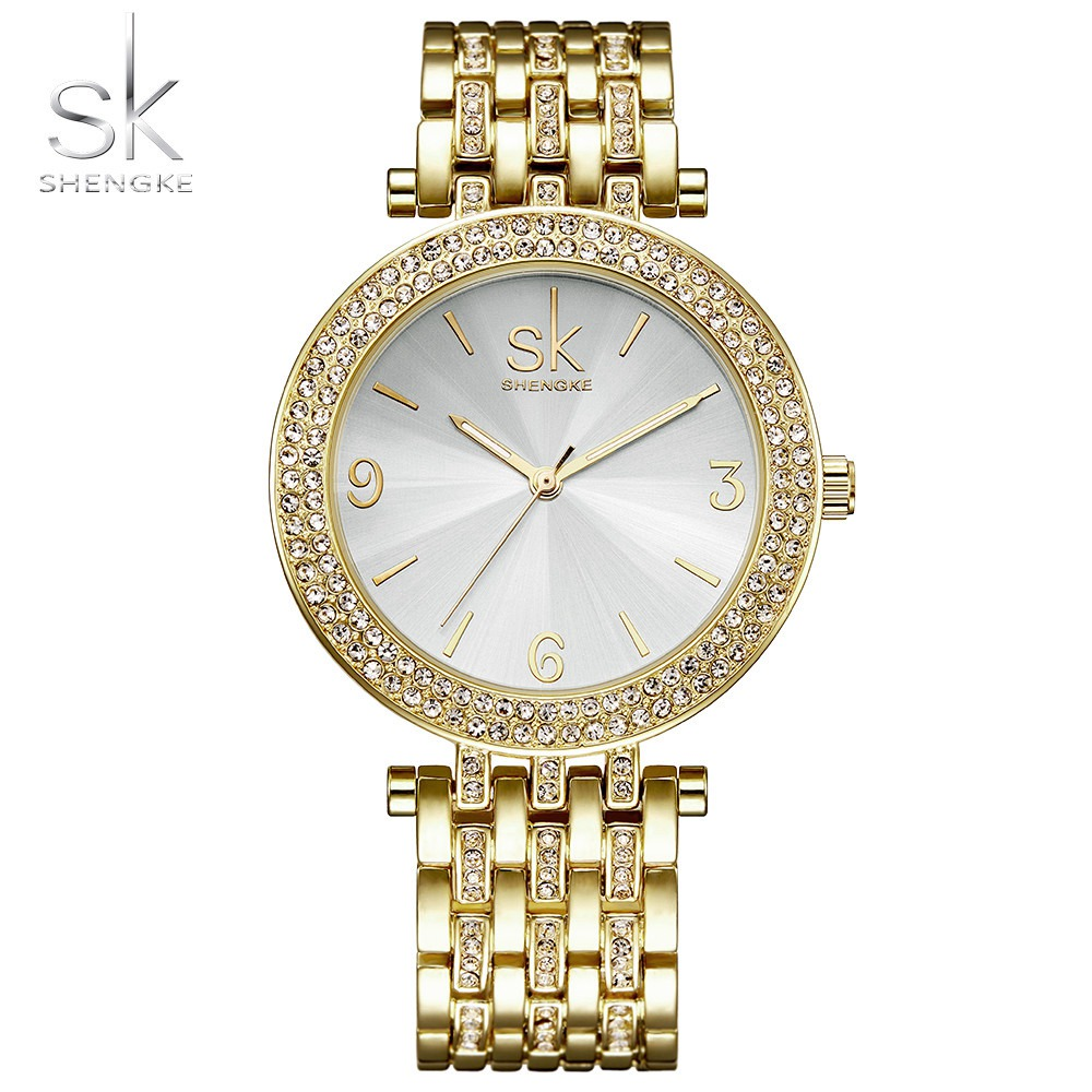 Shengke Luxury Women Watch Brands Crystal Sliver Sexy Diamond Design Bracelet Watches Ladies Crystal Watches Relogio Feminino
