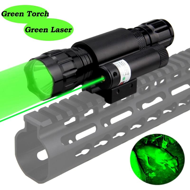 501B LED Airsoft Linterna Hunting Weapon Flashlight Q5 Green Rifle Gun Light+20mm Rail Mount Laser Pen Dot+18650+CR2+USB Charger