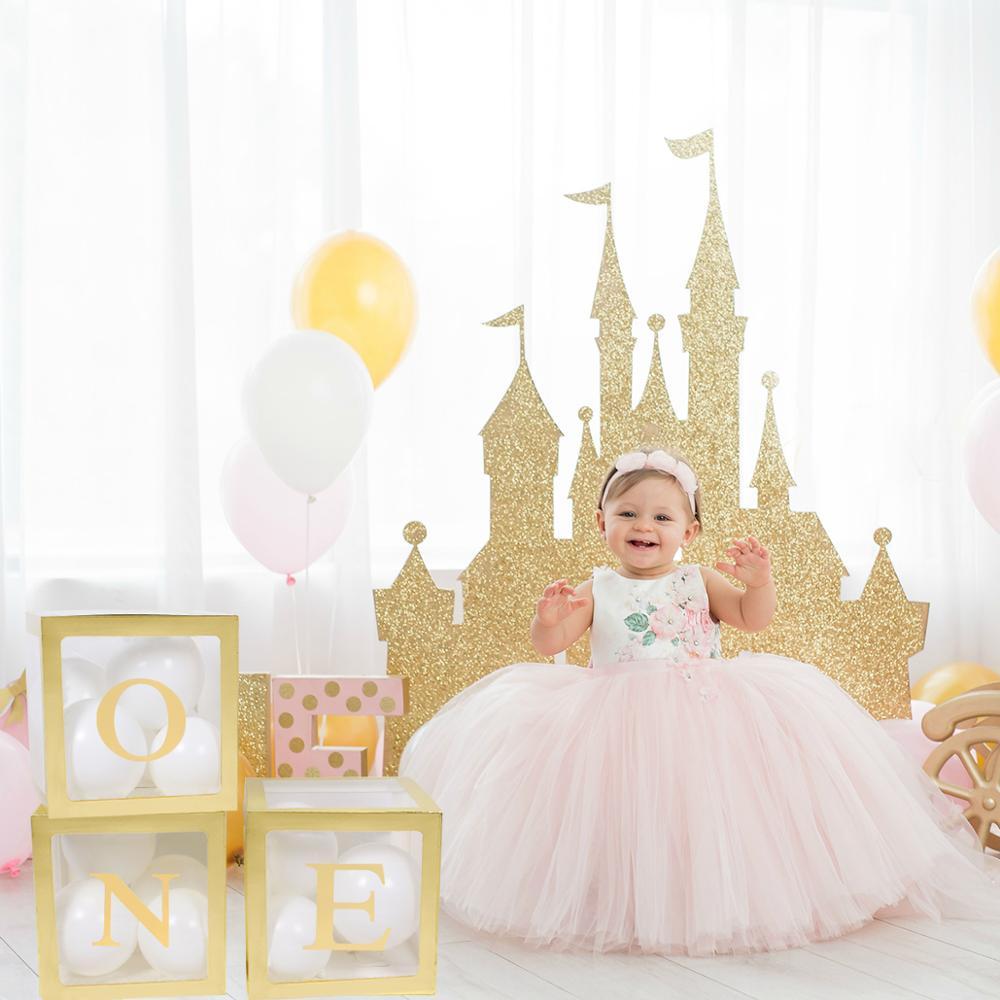 QIFU коробка с надписью с золотым именем, 1 год, первый день рождения для девочек и мальчиков, вечерние воздушные шары для детского душа, декор ...