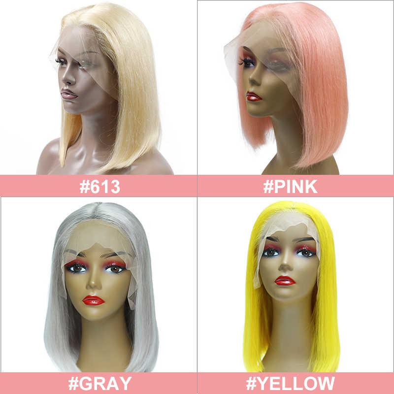 Ali Queen 13x 4/13x6 koronkowe peruki z przodu 10A 180% gęstość blond/różowy brazylijski prosto Remy włosy naturalne czarne peruki z krótkim bobem