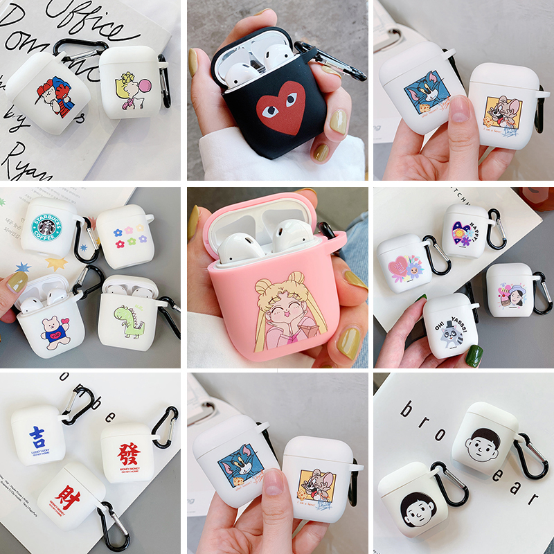 Cute Cartoon Wireless Bluetooth Earphone Protective Cover For Apple Airpods 2 Headset Soft Silicone Case For Airpods Accessories
