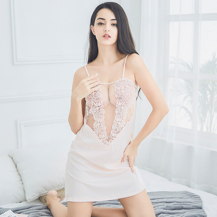 Manufacturers Hot Selling Women's Sexy Pajamas Water Soluble Lace Nightgown Camisole Real Silk Ultra-Comfortable Home Wear