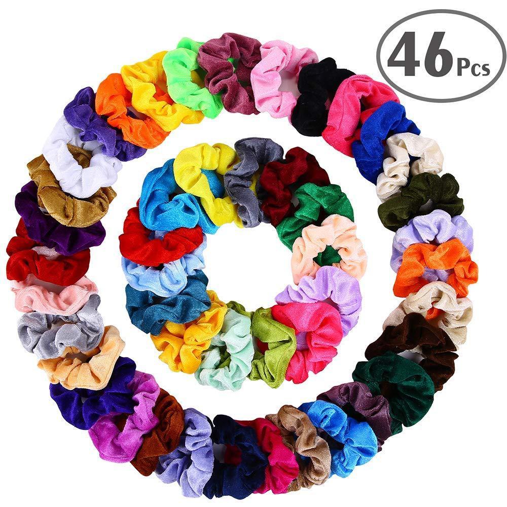 20/36/46 Pcs/Set Vintage Velvet Scrunchie Pack Women Elastic Hair Bands Headband Rubber Hair Tie Solid Color Hair Accessories
