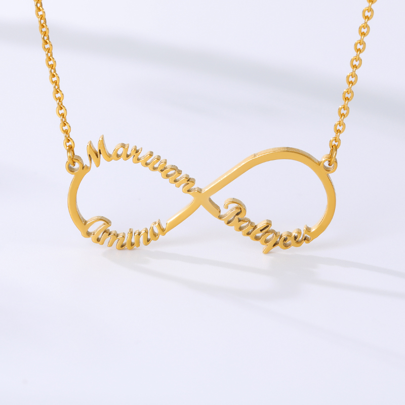 Customized Stainless Steel Infinity Name Necklace Boho Jewelry Personalized Heart Infinity Necklace Bridesmaid Gifts 4
