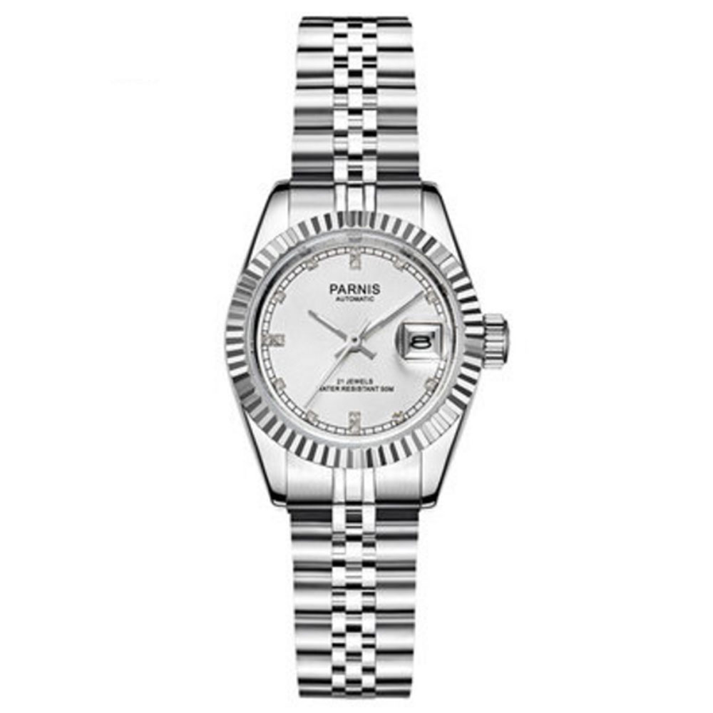 NEW Arrive 26mm Parnis White Dial Sapphire Glass Date Steel Case Luxury Brand Miyota Automatic Movement Men's Watch