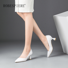 ROBESPIERE Strange Style High Heel Shoes Woman Shallow Slip On Genuine Leather Shoes 2019 New Pointed Toe Ladies Party Pumps A57 venchale shallow slip on convenient 2018 new arrival high heels pointed toe woman plus size shoes genuine leather woman pumps