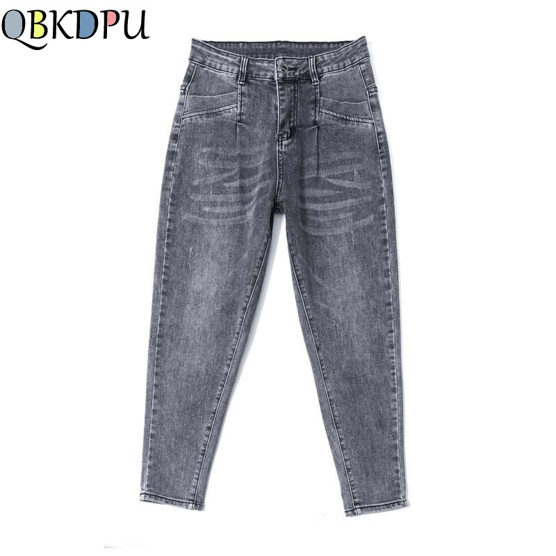 Plus Size High Waist Boyfriend Jeans Women Fashion Gray Loose Jeans Lady Denim Harem Pant Casual Trousers Jeans Femme Streetwear