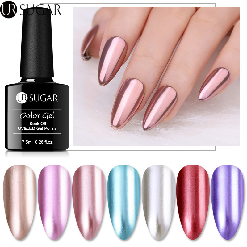 UR SUGAR 7.5ml Metallic Gel Nail Polish Mirror Effect Rose Gold Silver Soak Off UV Gel Varnish Semi Permanent Nail Art Varnish