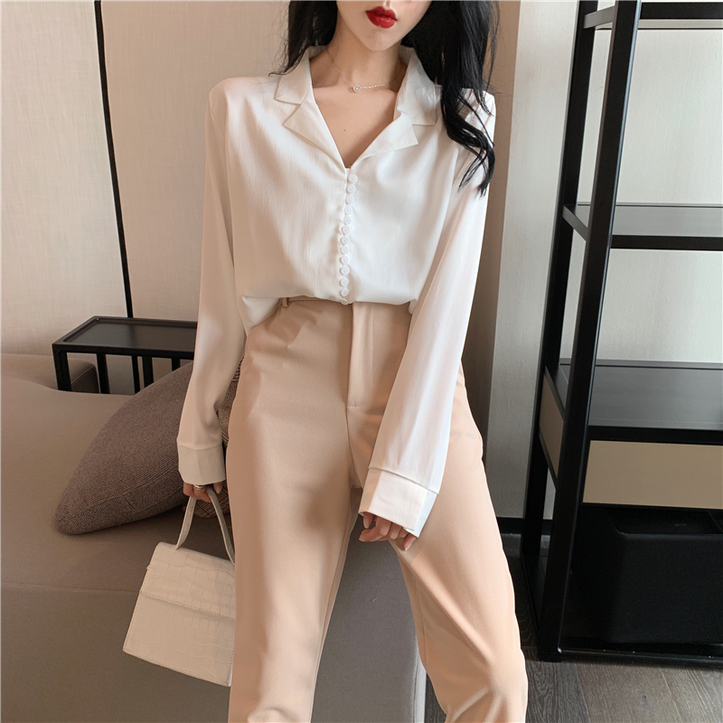temperament Women's Clothing casual full notched full loose Korean style shirts Spring and autumn fashion brand ladies tops hot