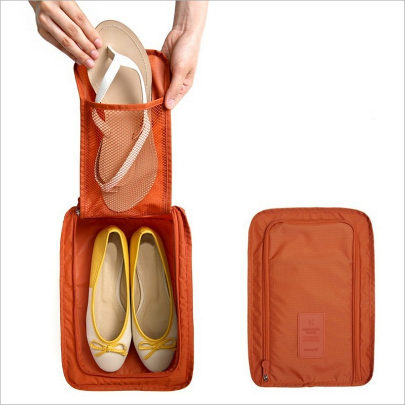 Portable Waterproof Shoes Bag Three Layers Portable Shoes Organizer Travel Storage Pouch Pocket Packing Cubes Handle Zipper Bag