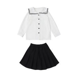 Image 5 - Conjuntos universitarios para niñas otoño océano uniformes escolares de manga larga faldas de camisa de dos piezas uniformes de la Marina para niños ropa