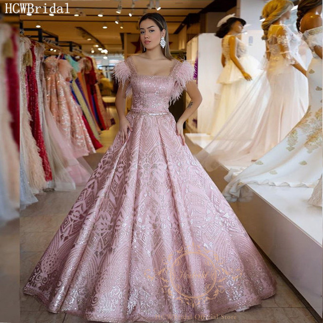 Dusty Pink Ball Gown Arabic Evening Formal Dresses Glitter Feathers Long Special Occasion Dress Plus Size Prom Party Gowns