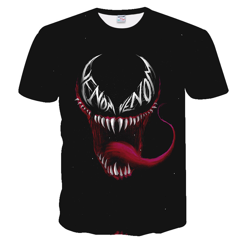 Red Tongue Venom Marvel 3D Printed Hip Hop Style T-shirts For Men Women Summer Funny Casual T-shirts Crewneck Loose Tees