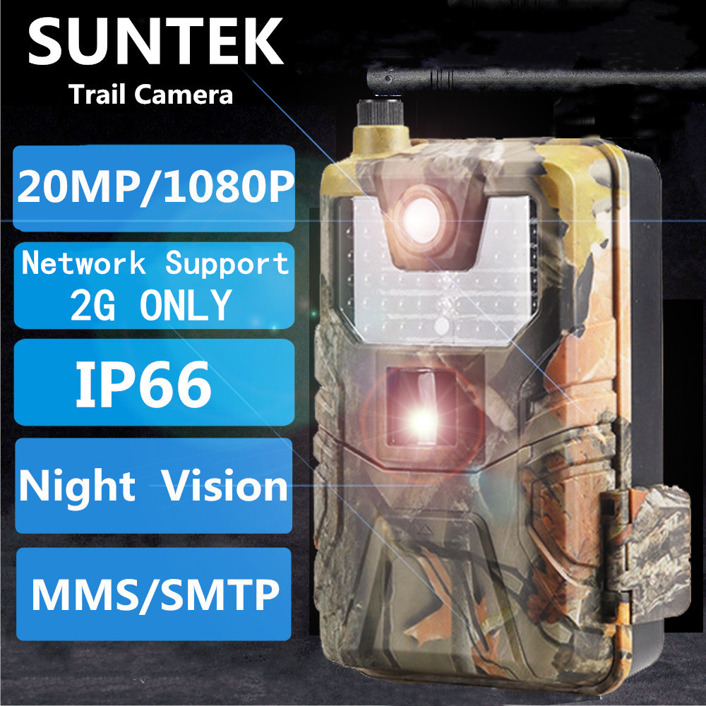 20MP 1080P 2G SMS MMS SMTP 야생 동물 트레일 카메라 사진 트랩 야간 투시경 이메일 셀룰러 사냥 야외 카메라 감시