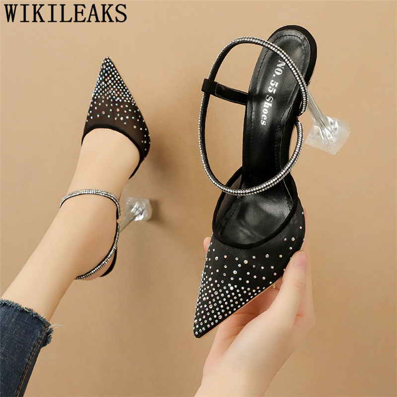 Rhinestone Sandals Fetish High Heels Sandals Women Summer Pumps Women Shoes 5cm Heels Ladies Shoes Luxury Sandals Sexy Shoes