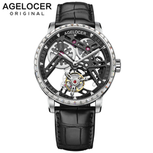 AGELOCER business watches men skeleton automatic clock tourbillon waterproof rhi