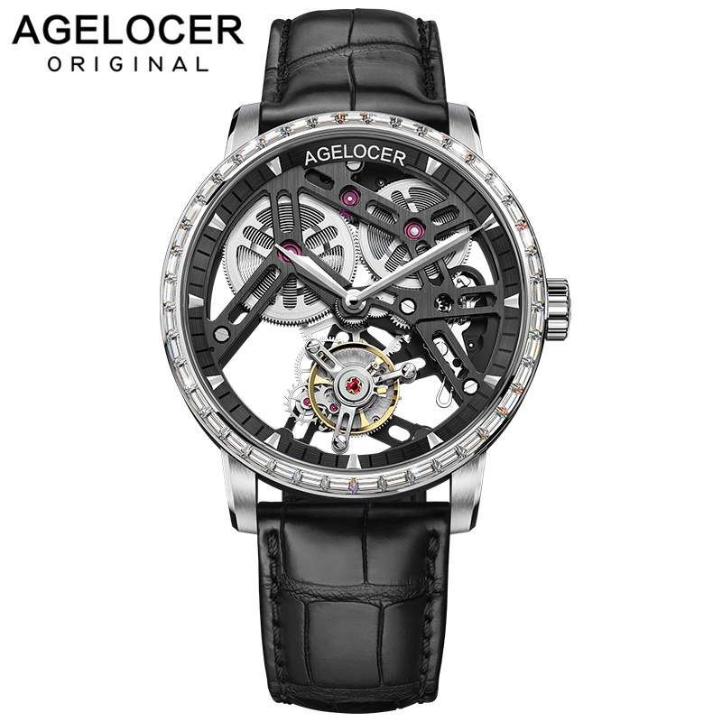 AGELOCER Business Watches Men Skeleton Automatic Clock Tourbillon Waterproof Rhinestone Mechanical Watch Mens Relogio Masculino