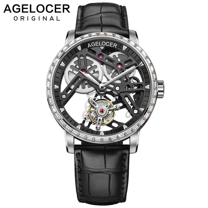 AGELOCER Business Watches Men Skeleton Automatic Clock Tourbillon Waterproof Rhinestone Mechanical Watch Mens Relogio Masculino