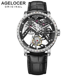 AGELOCER Skeleton Automatic Mechanical-Watch Business-Watches Tourbillon Waterproof Mens