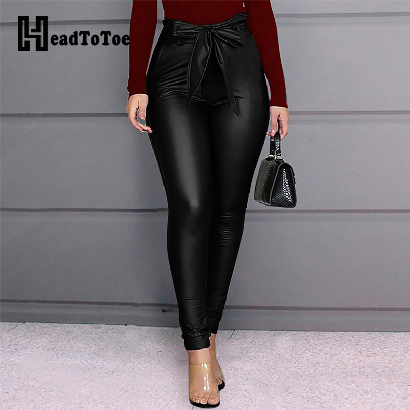 Paperbag Waist Faux Leather Pants Women High Waist Belted Casual PU Pencil Pants