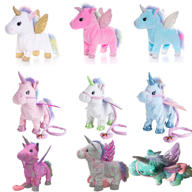 Drop Shipping Toys Electric Walking Unicorn Plush Toy Stuffed Animal Toy Electronic Music Unicorn Toy For Kids Christmas Gifts