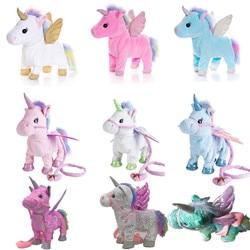 Drop Shipping Toys Electric Walking Unicorn Plush Toy Stuffed Animal Toy Electronic Music Unicorn Toy for Kids Christmas Gifts