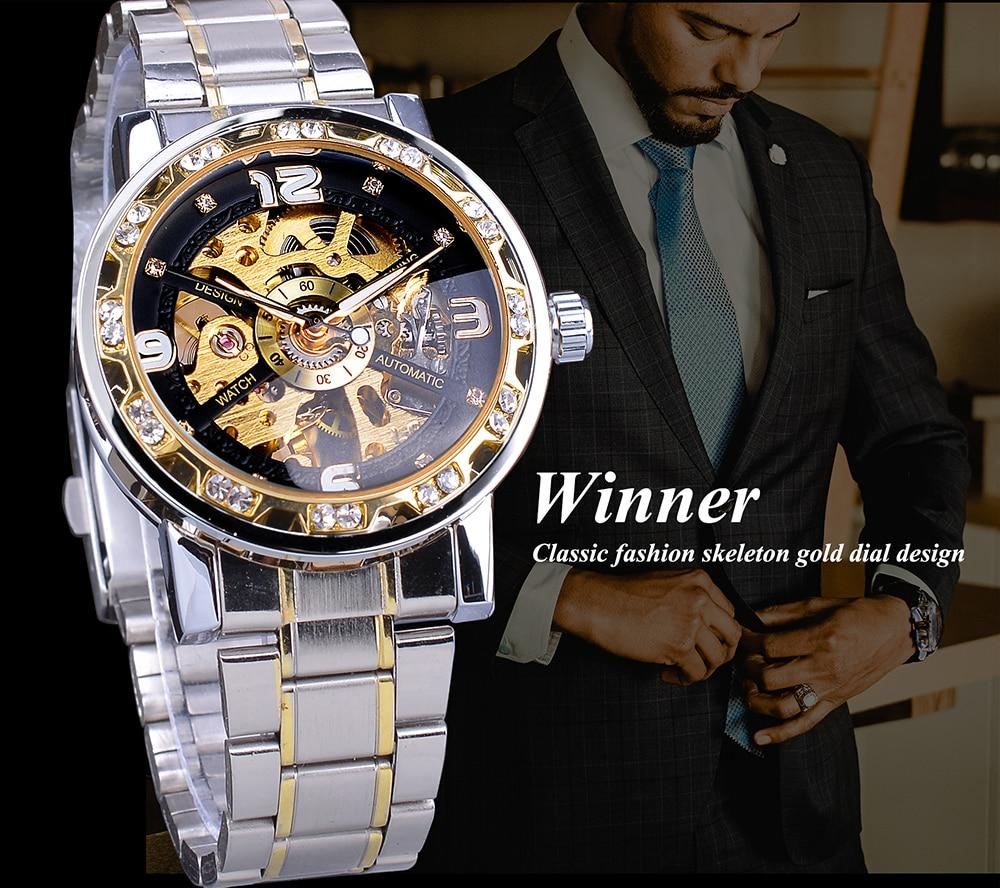 Forsining Fashion Diamond Golden Sliver Skeleton Mechanical Watch Stainless Steel Luminous Men Watches Sport Business Wristwatch