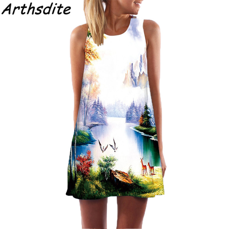 Arthsdite Vintage Floral Print Women Dress O neck Sleeveless Casual Dress Bohemian Sexy Chiffon Beach Tank Summer Dress Vestidos in Dresses from Women 39 s Clothing