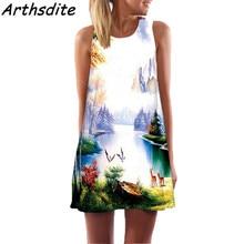 Arthsdite Vintage Floral Print Women Dress O-neck Sleeveless Casual Bohemian Sexy Chiffon Beach Tank Summer Vestidos
