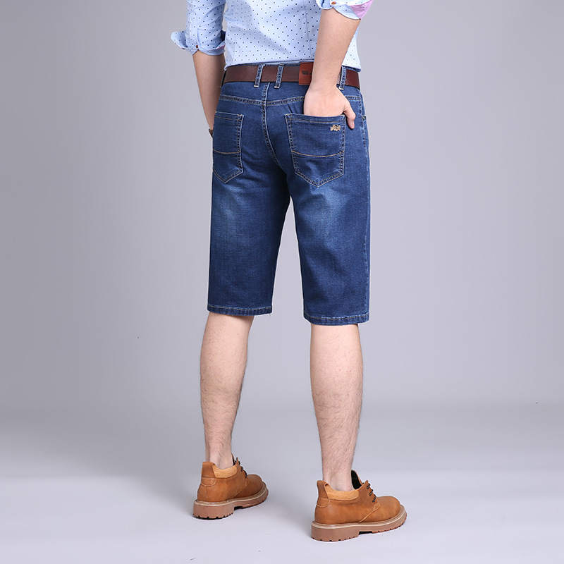 Summer Thin Section Capri Jeans Men's Loose Straight Ultra-stretch Men Middle-aged 7 Points Pants Fat Plus-sized Pants