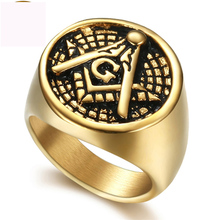 Luxury freemasonry AG finger ring jewel titanium steel fashion jewelry rings gold color plated for men free shipping