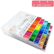 100pcs Colorful double head sketch markers fine-writing watercolor pen art marker tip whiteboard
