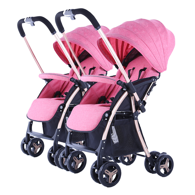 Fast Shipping ! Twin Baby Strollers Can Sit Reclining Two-way Implementation Baby Pran Light Foldable Twins Stroller