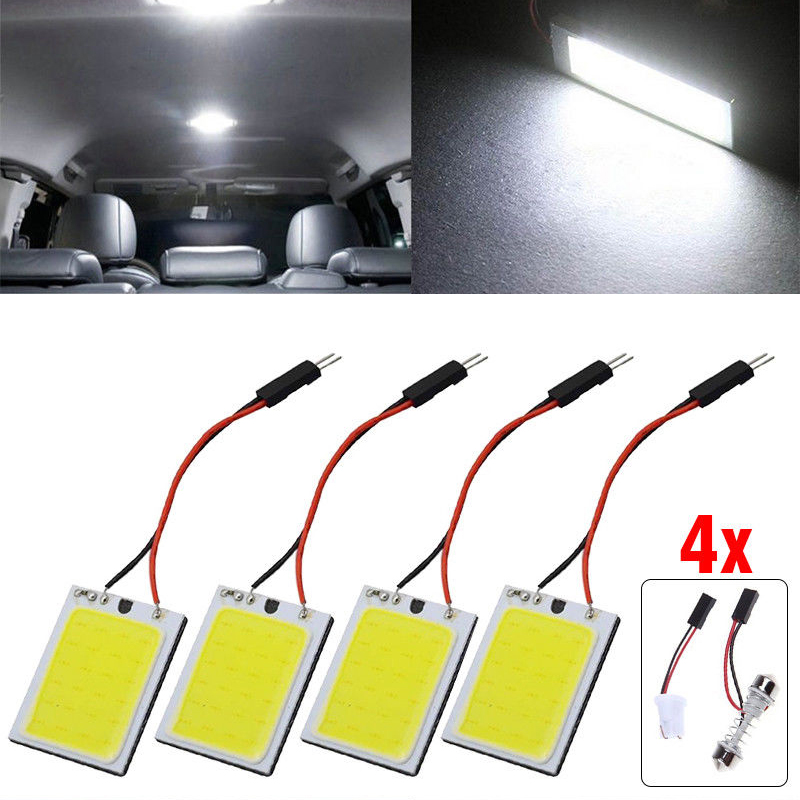 <font><b>4</b></font> Pcs 24 <font><b>SMD</b></font> COB LED <font><b>T10</b></font> 4W Lights Car Interior Panel Lights Dome Lamp White image