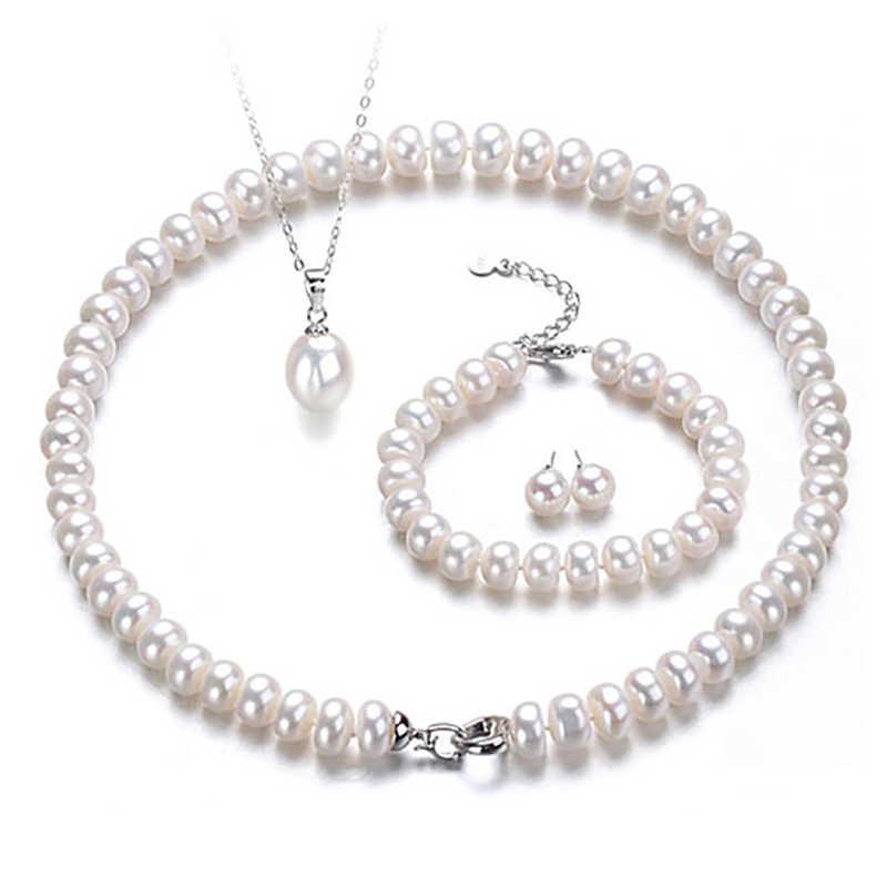 Nymph pérola conjuntos de jóias para mulheres jóias finas 8-9mm real de água doce pérola colar pulseira brinco pingente anel 5 peças t402