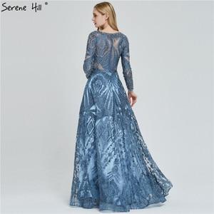 Image 4 - Dubai Luxury Long Sleeves Evening Dresses 2020 Navy Blue O Neck Crystal Formal Dress Design Serene Hill Plus Size LA60900