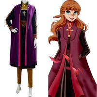 New Anna Cosplay Costume Princess Elsa Anna Dress Uniform Halloween Party Fancy Dress Costume Outfit Women
