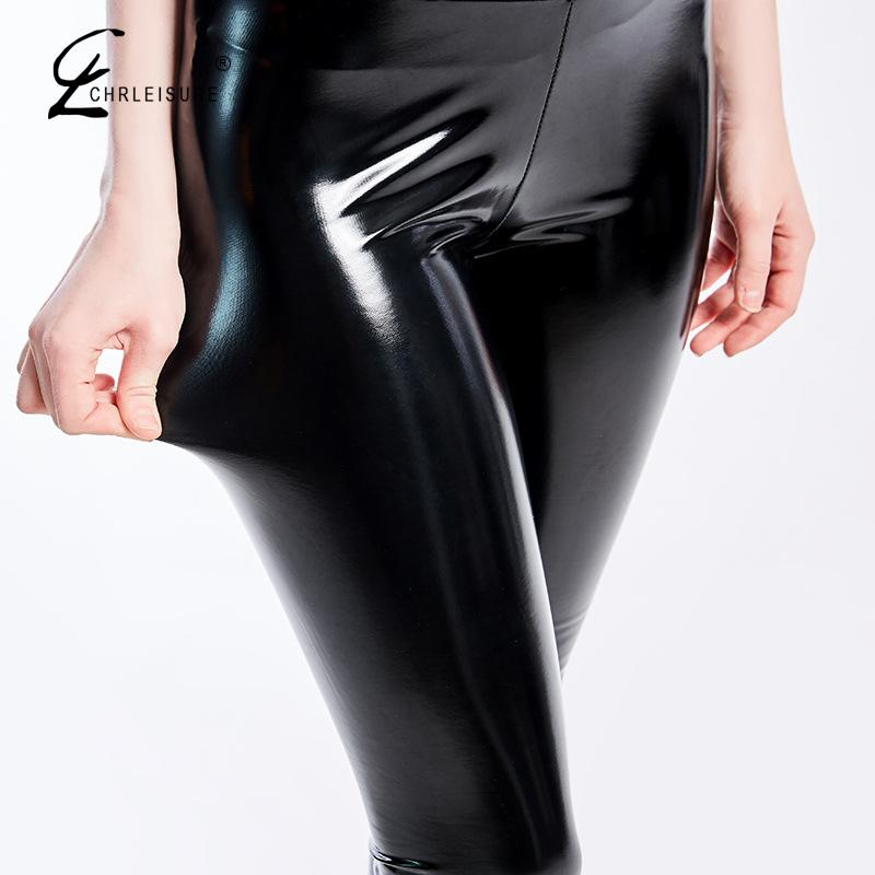 Black Pu Leather Pants Women High Waist Leather Leggings Trousers Women Thick Stretch Pantalon Mujer