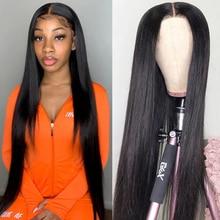 Lace Wigs Human-Hair-Wigs T-Part Transparent Straight Brazilian 28-30inch Bone Long